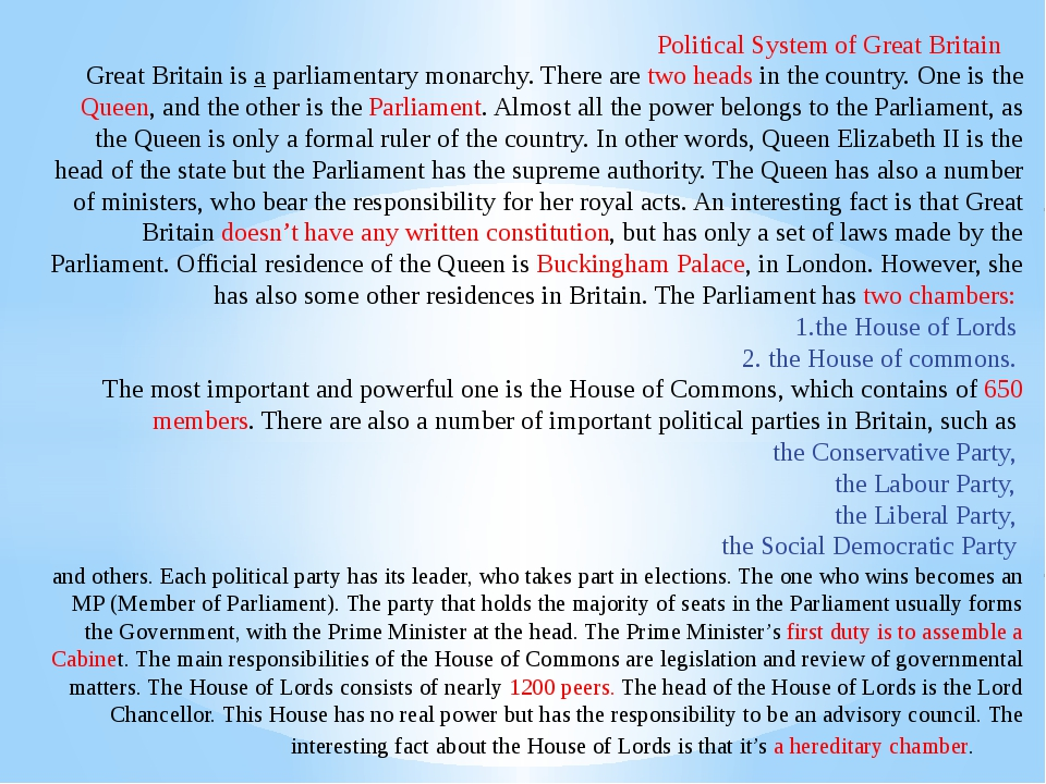 political system of gb The british system of government britain is a constitutional monarchy that means it is a country governed by a king or a queen who accepts the.