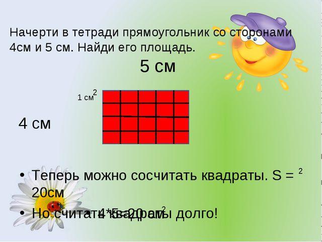 Начерти в тетради прямоугольник со сторонами 4см и 5 см. Найди его площадь. Т...