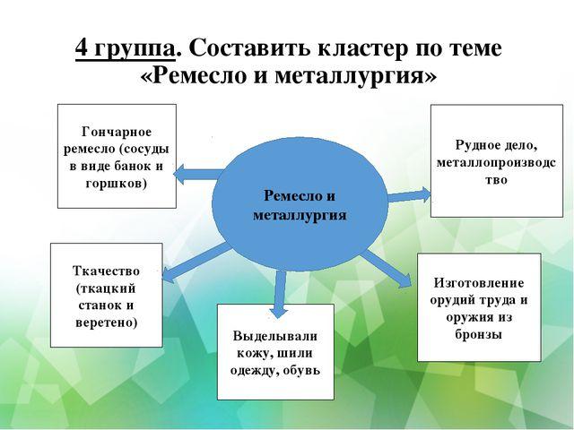4 группа. Составить кластер по теме «Ремесло и металлургия» Гончарное ремесло...