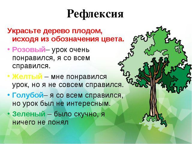 Рефлексия Украсьте дерево плодом, исходя из обозначения цвета. Розовый– урок...