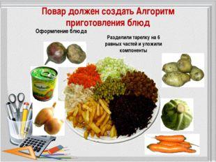 Повар должен создать Алгоритм приготовления блюд Разделили тарелку на 6 равны