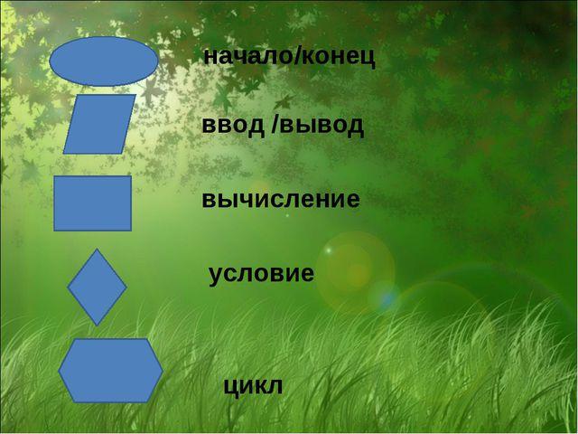 начало/конец ввод /вывод вычисление условие цикл