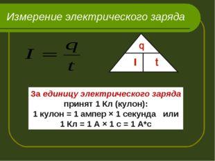 Измерение электрического заряда За единицу электрического заряда принят 1 Кл