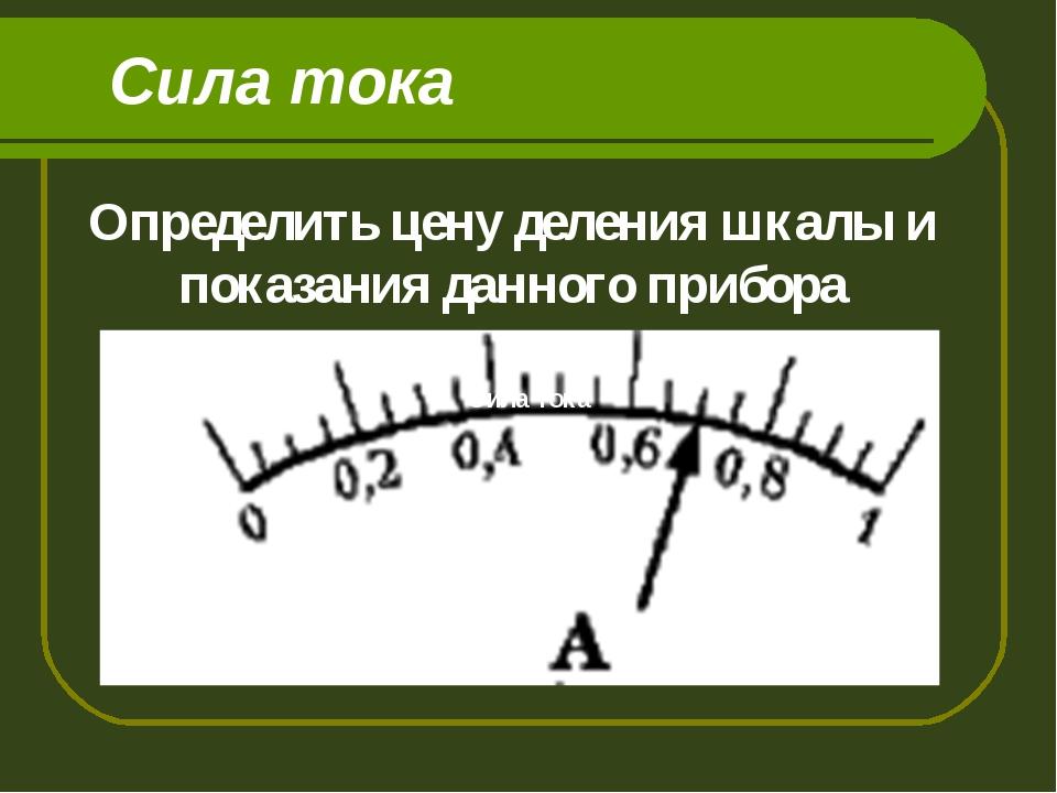Сила тока Сила тока Определить цену деления шкалы и показания данного прибора