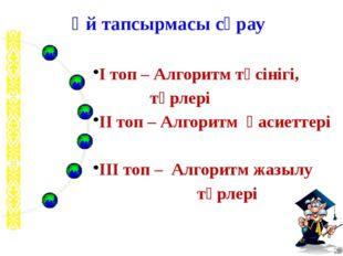 І топ – Алгоритм түсінігі, түрлері ІІ топ – Алгоритм қасиеттері ІІІ топ – Ал