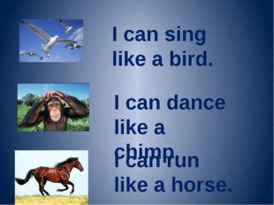 I can sing like a bird. I can dance like a chimp. I can run like a horse.