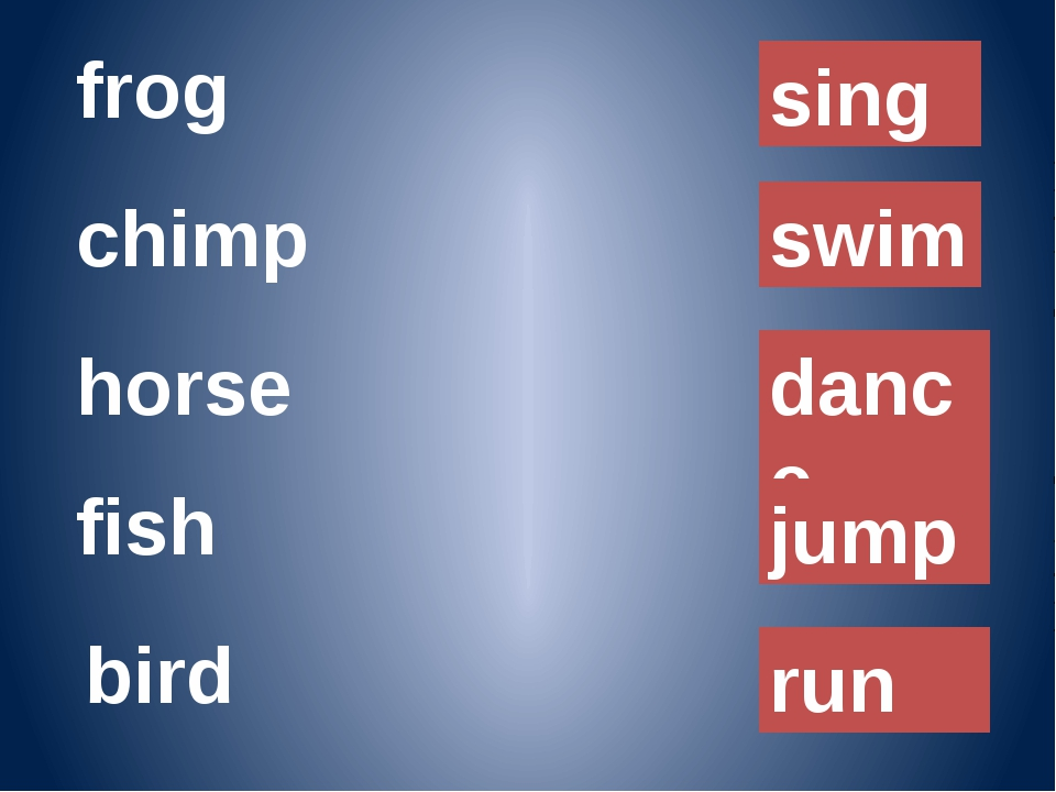 frog chimp horse fish sing swim dance jump bird run