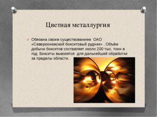 Цветная металлургия Обязана своим существованием ОАО «Североонежский бокситов
