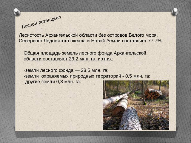Лесной потенциал Лесистость Архангельской области без островов Белого моря, С...