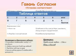 Инструкция к выполнению задания: 1 Установите соответствие между 1 и 2 столби
