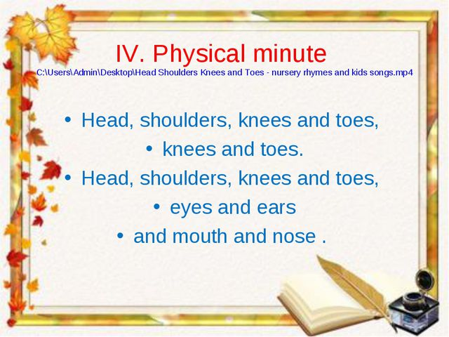 IV. Physical minute C:\Users\Admin\Desktop\Head Shoulders Knees and Toes - nu...