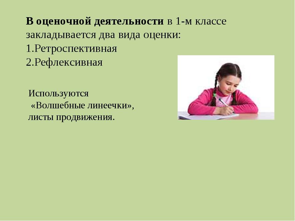 В оценочной деятельности в 1-м классе закладывается два вида оценки: Ретроспе...