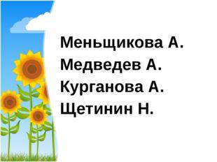 Меньщикова А. Медведев А. Курганова А. Щетинин Н.