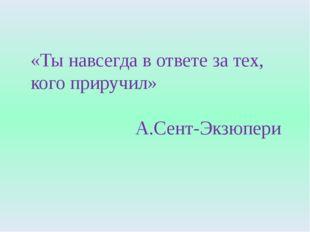 «Ты навсегда в ответе за тех, кого приручил» А.Сент-Экзюпери