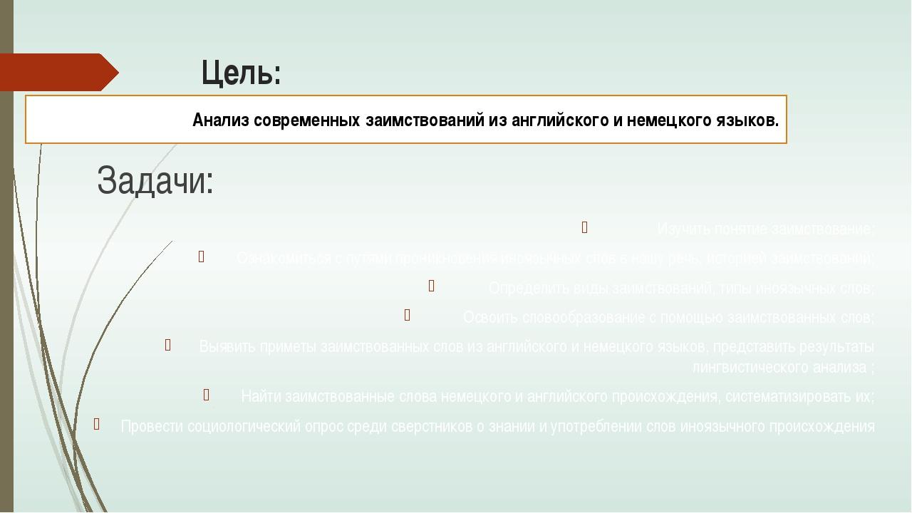 Цель: Задачи: Анализ современных заимствований из английского и немецкого язы...