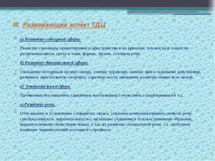 III.Развивающий аспект ТДЦ а) Развитие сенсорной сферы. Развитие глазомера,