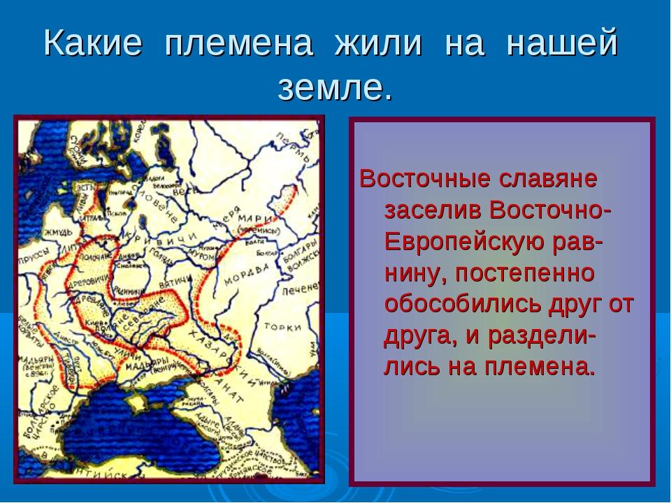 Какие племена жили на нашей земле. Восточные славяне заселив Восточно- Европе...