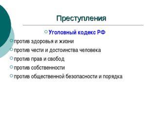 Преступления Уголовный кодекс РФ против здоровья и жизни против чести и досто