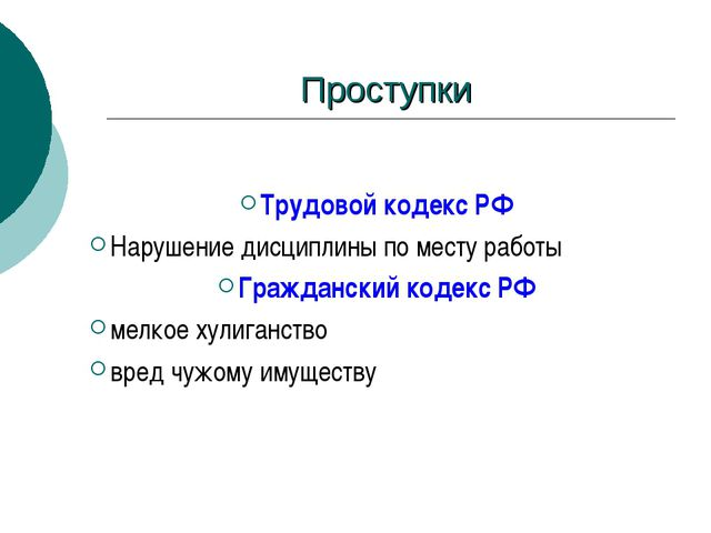 Проступки Трудовой кодекс РФ Нарушение дисциплины по месту работы Гражданский...