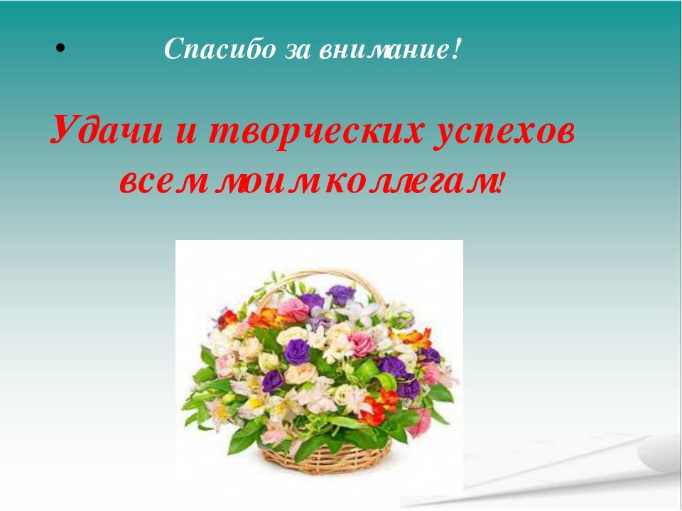 Спасибо за внимание! Удачи и творческих успехов всем моим коллегам!