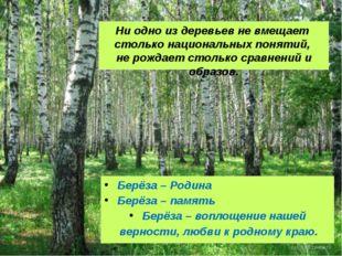 Ни одно из деревьев не вмещает столько национальных понятий, не рождает столь