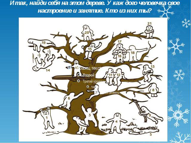 Итак, найди себя на этом дереве. У каждого человечка свое настроение и заняти...