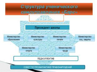 Структура ученического самоуправления «Барс» РЕФЕРЕНДУМ Президент школы Мини