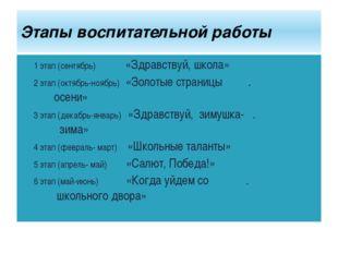 1 этап (сентябрь) «Здравствуй, школа» 2 этап (октябрь-ноябрь) «Золотые страни