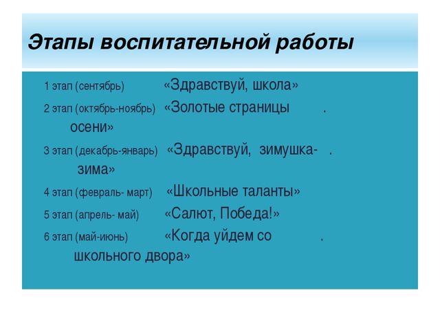 1 этап (сентябрь) «Здравствуй, школа» 2 этап (октябрь-ноябрь) «Золотые страни...