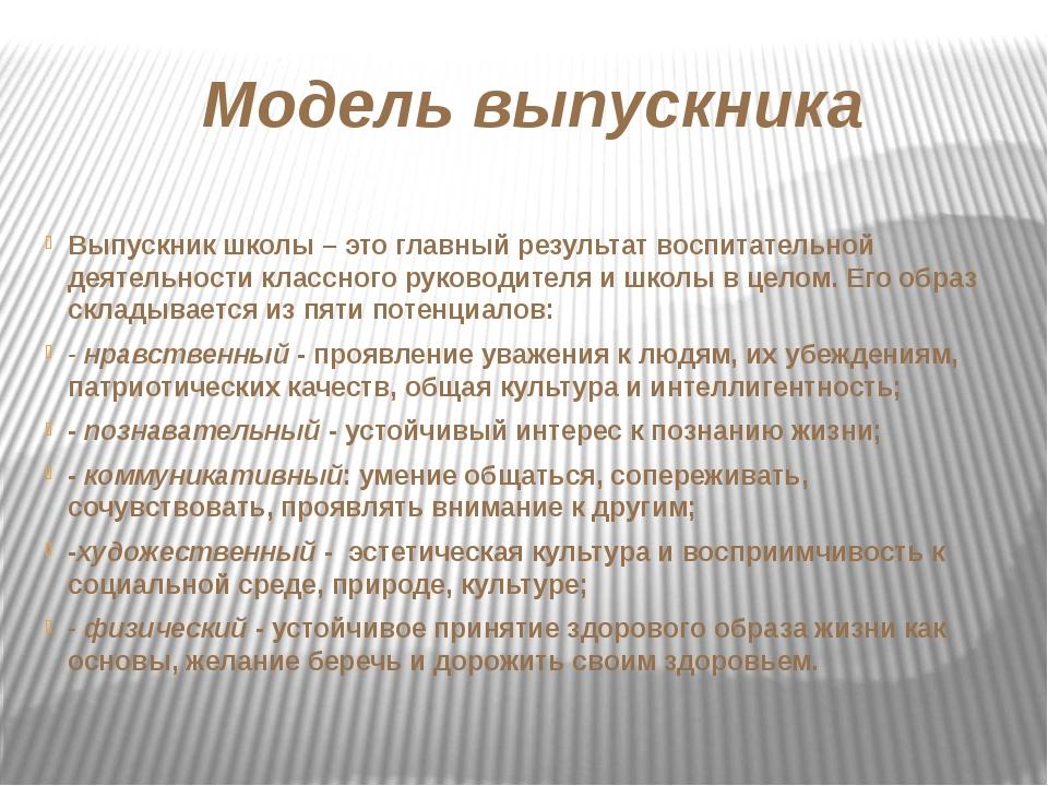 Модель выпускника Выпускник школы – это главный результат воспитательной деят...