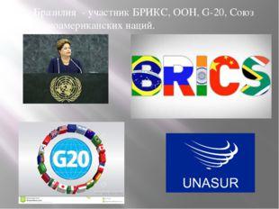 Бразилия - участник БРИКС, ООН, G-20, Союз южноамериканских наций.