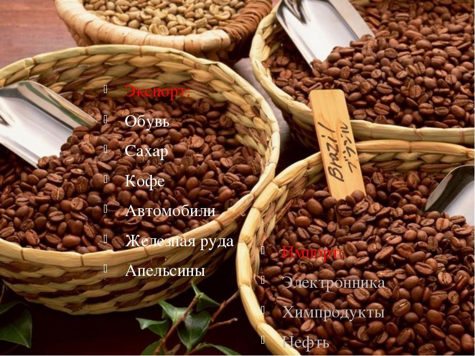 Экспорт: Обувь Сахар Кофе Автомобили Железная руда Апельсины Импорт: Электрон...
