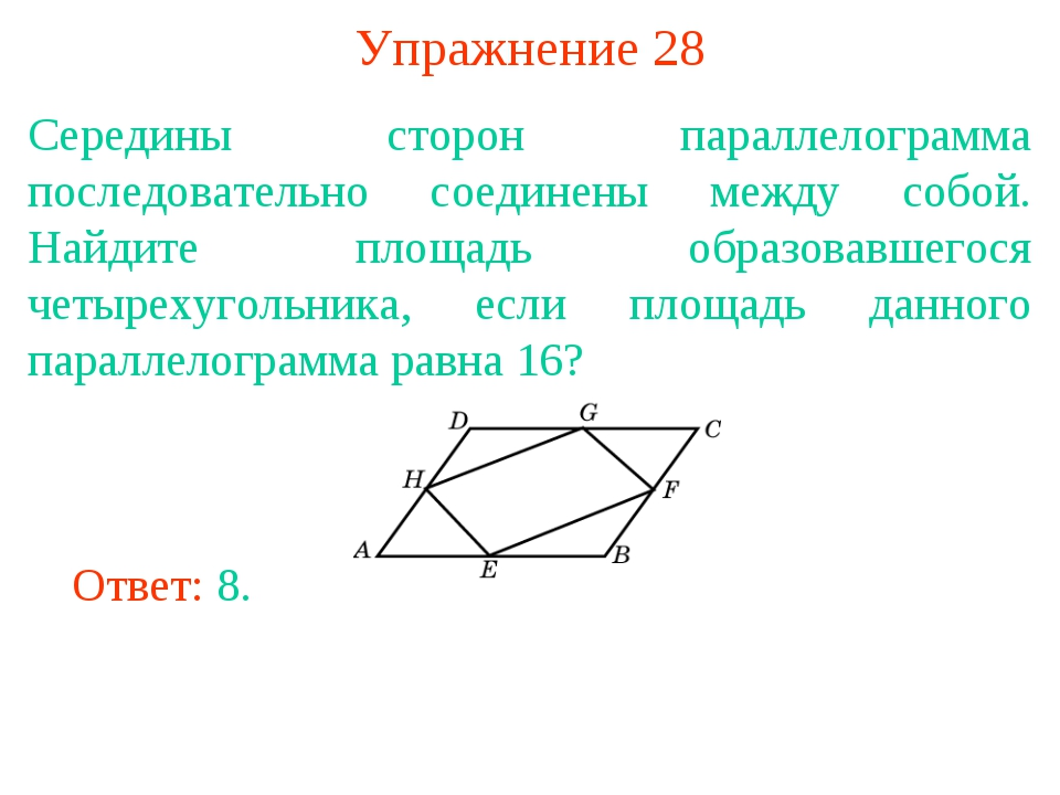 Упражнение 28 Середины сторон параллелограмма последовательно соединены между...