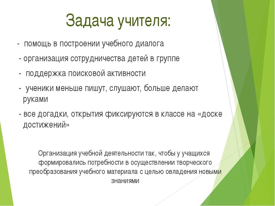 Задача учителя: - помощь в построении учебного диалога - организация сотрудн...