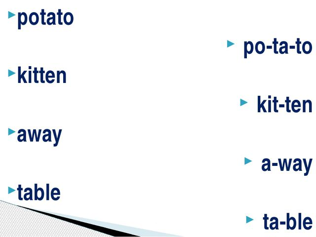potato po-ta-to kitten kit-ten away a-way table ta-ble