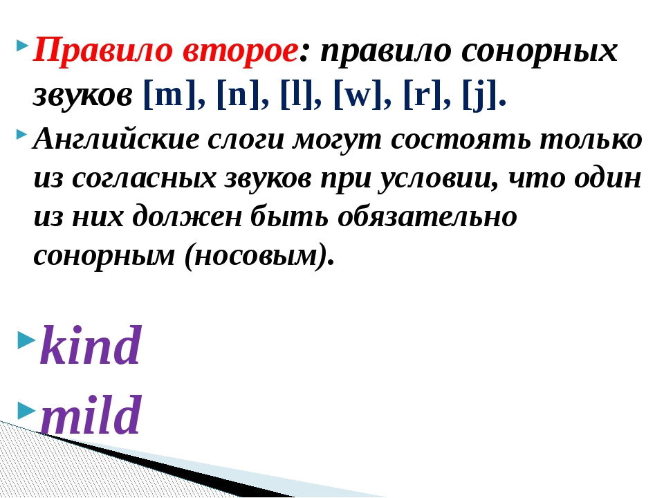 Правило второе:правило сонорных звуков [m], [n], [l], [w], [r], [j]. Английс...