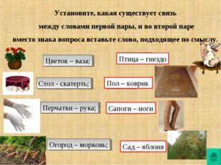 Установите, какая существует связь между словами первой пары, и во второй пар