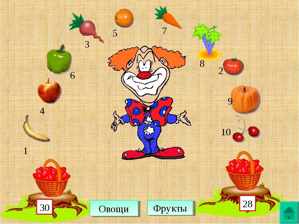 1 4 6 3 5 7 8 2 9 10 Овощи Фрукты 28 30