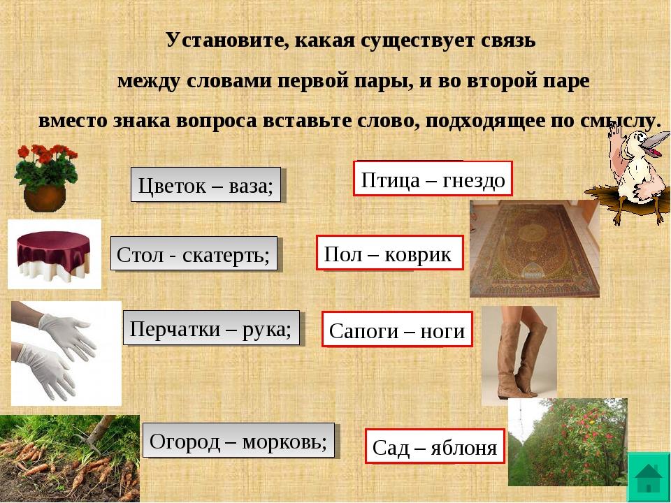 Установите, какая существует связь между словами первой пары, и во второй пар...