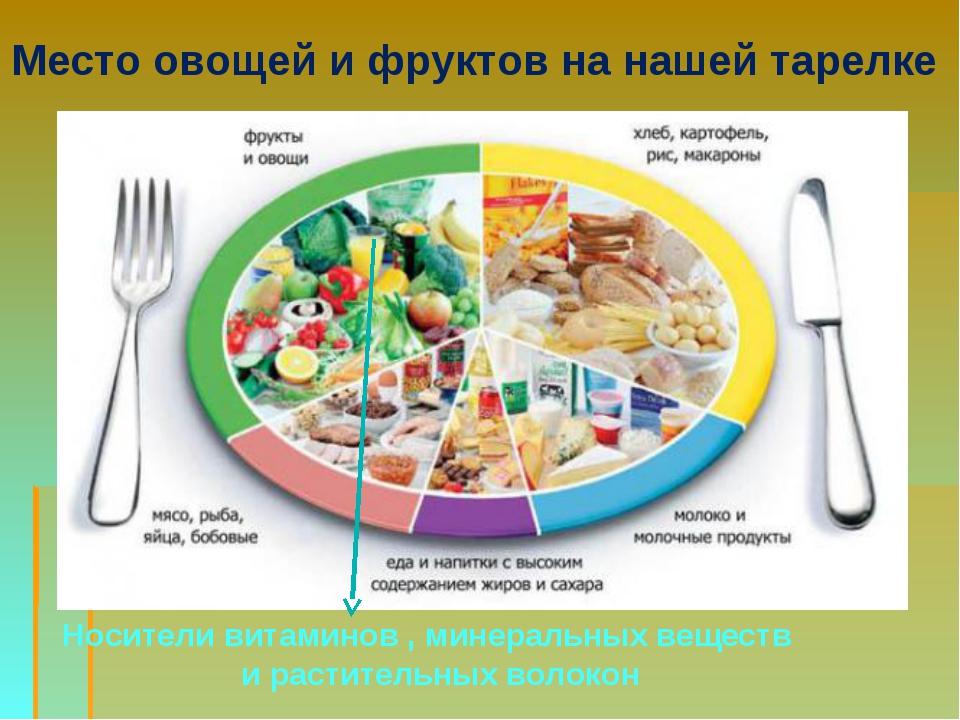Место овощей и фруктов на нашей тарелке Носители витаминов , минеральных веще...
