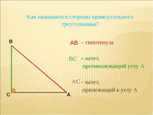 – гипотенуза – катет, противолежащий углу А – катет, прилежащий к углу А В С