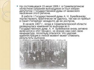 На состоявшемся 15 июня 1906 г. в Семипалатинске областном собрании выборщико