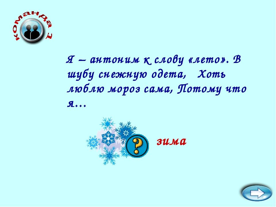 Я – антоним к слову «лето». В шубу снежную одета, Хоть люблю мороз сама, Пото...