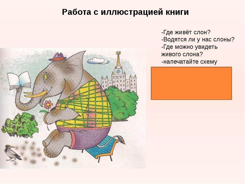 Работа с иллюстрацией книги -Где живёт слон? -Водятся ли у нас слоны? -Где мо...