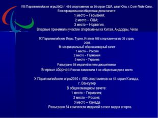 VIII Паралимпийские игры2002 г. 416 спортсменов из 36 стран США, штат Юта, г.