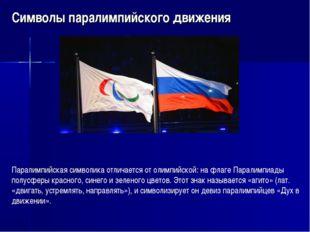 Символы паралимпийского движения Паралимпийская символика отличается от олимп