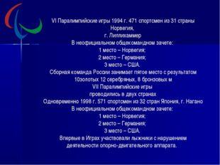 VI Паралимпийские игры 1994 г. 471 спортсмен из 31 страны Норвегия, г. Лиллих