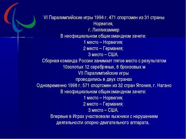 VI Паралимпийские игры 1994 г. 471 спортсмен из 31 страны Норвегия, г. Лиллих...