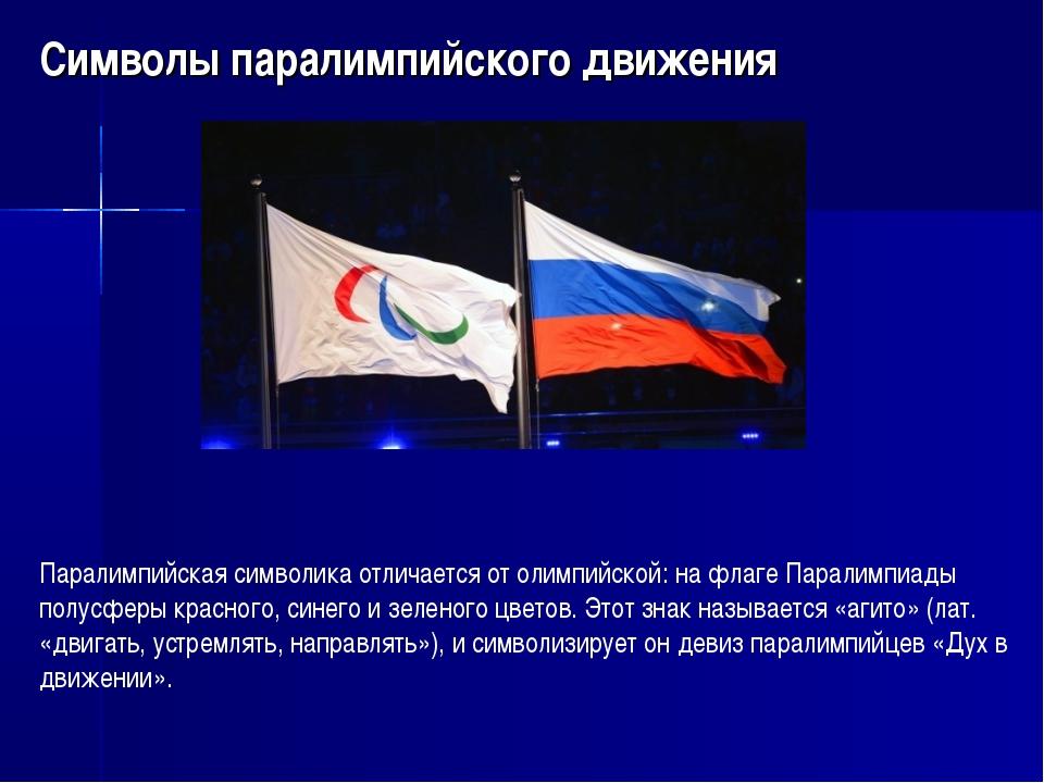 Символы паралимпийского движения Паралимпийская символика отличается от олимп...