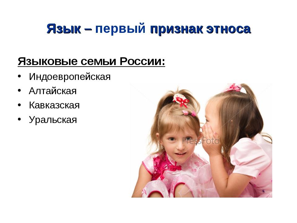 Язык – первый признак этноса Языковые семьи России: Индоевропейская Алтайская...
